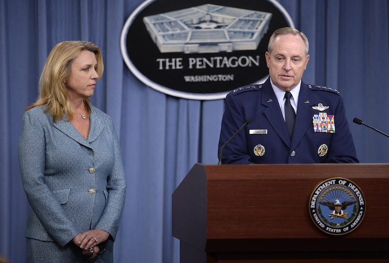 Air Force Chief of Staff Gen. Mark A. Welsh III delivers his statement with Secretary of the Air Force Deborah Lee James during a press briefing to announce he award of the long range strike bomber contract in the Pentagon, Oct. 27, 2015.  During his comments, Welsh stated that the LRS-B will provide our nation tremendous flexibility as a duel-capable bomber and the strategic agility to respond and adapt faster than out potential adversaries.  (U.S. Air Force photo/Scott M. Ash)