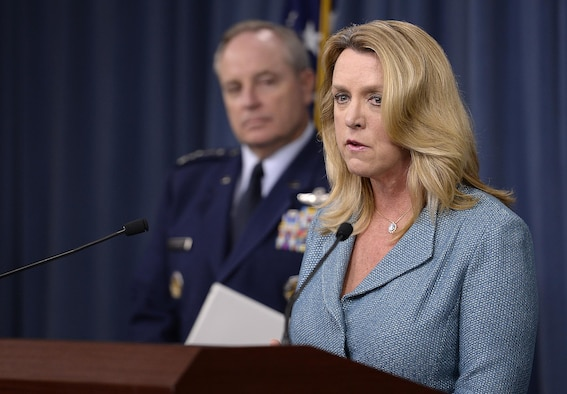 Secretary of the Air Force Deborah Lee James makes the announcement about of the award of the long range strike bomber contract with Air Force Chief of Staff Gen. Mark A. Welsh III, during a press briefing in the Pentagon, Oct. 27, 2015.  During her comments, James stated that we need to invest the right people, technology, capability, and training to defend the nation and its interest--always with affordability and tight budgets in mind.   (U.S. Air Force photo/Scott M. Ash)
