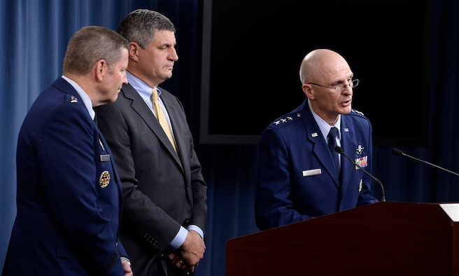 Lt. Gen. Arnold Bunch Jr., the military deputy for the Office of the Assistant Secretary of the Air Force for Acquisition, Dr. William LaPlante, the assistant secretary of the Air Force for acquisition, and Gen. Robin Rand, commander of Air Force Global Strike Command answer questions after Secretary of the Air Force Deborah Lee James and Air Force Chief of Staff Gen. Mark A. Welsh III announced the award of the long range strike bomber contract in the Pentagon during a press briefing, Oct. 27, 2015.  (U.S. Air Force photo/Scott M. Ash)
