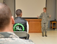 Col. Kristin Goodwin, 2nd Bomb Wing commander provides opening remarks to base motorcyclists during the Cajun Rumble safety briefing at Barksdale Air Force Base, La., Oct. 23, 2015. Goodwin's remarks were followed by a safety brief by the wing safety office and a ride brief by the president of the Green Knights Motorcycle Club Chapter 75. (U.S. Air Force photo/Airman 1st Class Mozer O. Da Cunha)