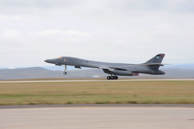 A B-1 bomber takes off as part of surge week at Ellsworth Air Force Base, S.D., Oct. 5, 2015. Airmen from the 28th Aircraft Maintenance Squadron provide safe and reliable aircraft for B-1 bomber pilots and weapons system officers, and perform surges annually to ensure Ellsworth???s aircraft remain mission-capable at all times. (U.S. Air Force photo by Airman 1st Class Denise M. Nevins/Released)