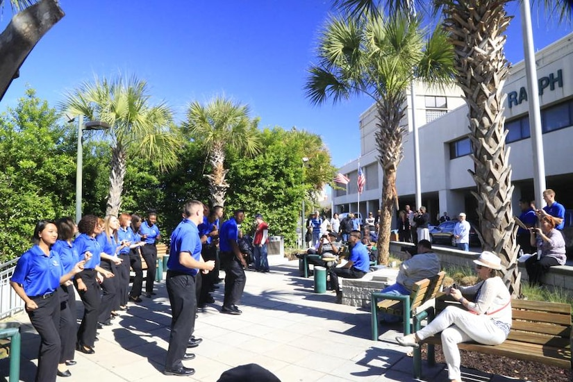 Members of Tops in Blue perform in the front courtyard of the Charleston VA Medical Center, Charleston, S.C., Oct. 21, 2015. Tops in Blue is an all active duty U.S. Air Force Expeditionary Entertainment Unit composed of 35 to 40 talented vocalists, musicians, dancers and technicians. It is one of the oldest and most widely traveled entertainment groups of its kind. (Courtesy Photo)