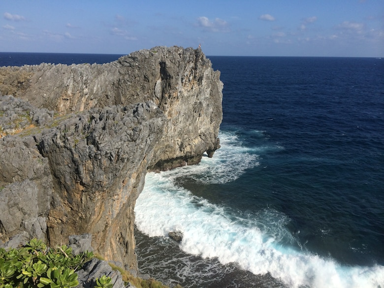 Waves crash against the 200-foot cliffs at Hedo Point, the northern-most spot on Okinawa, on Oct. 18, 2015. The point is a popular tourist destination, and makes for a good day trip from Kadena Air Base. (U.S. Air Force photo by Tim Flack)