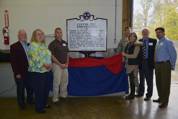 The U.S. Army Corps of Engineers Nashville District dedicates a Tennessee State Historical Marker at Center Hill Dam Oct. 27, 2015.  Left to right are David Nixon; Olga Beddingfield, U.S. Army Corps of Engineers Mid-Cumberland Area Operations manager; Jodie Craig, Center Hill Power Plant superintendent; Tennessee State Rep. Terri Lynn Weaver, District 40; Lt. Col. Stephen F. Murphy, U.S. Army Corps of Engineers Nashville District commander; Tim Stribling, Dekalb County mayor; and Center Hill Lake Resource Manager Kevin Salvilla.