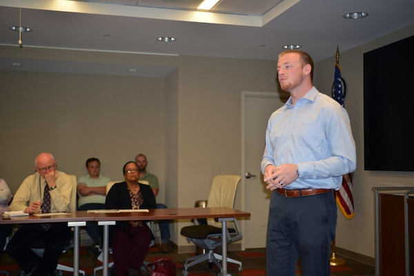 NASHVILLE, Tenn. (Oct 20, 2015) – NASHVILLE, Tenn. Matthew Brown, director, United Cerebral Palsy of Middle Tennessee speaks to Nashville District employees during a National Disability Employment Awareness Month event Oct. 20, 2015 at the U.S. Army Corps of Engineers Nashville Headquarters.