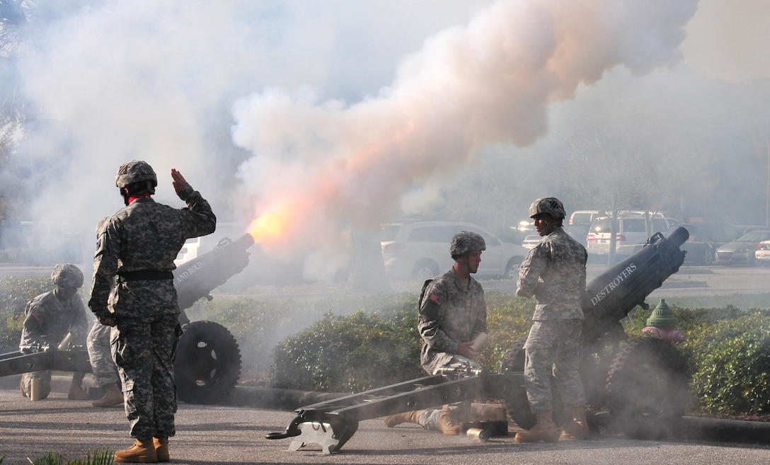Soldiers of the 1st Battalion, 10th Field Artillery Regiment, 3rd Infantry Division conduct a cannon salute during the Army Reserve Medical Command change of command ceremony held Sept. 26, 2015, at the C.W. Bill Young Armed Forces Reserve Center in Pinellas Park, Fla. After the cannon salute, 1st Lt. Mario Mendez, the officer in charge of the salute battery, presented Maj. Gen. Bryan R. Kelly, the outgoing ARMEDCOM commander, with the last shell fired in honor of his long and distinguished service to the Army Reserve. Kelly is retiring, after 26 years of military service and plans to spend more time with his family and continue his civilian career as a clinical psychologist near his hometown of East Sandwich, Mass.