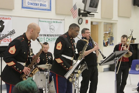 The Marine Corps Recruit Depot Parris Island Jazz Combo joined the Sayreville War Memorial High School band director and his assistant during an improvisation session during a concert at the school in Sayreville, N.J., Oct. 27, 2015.