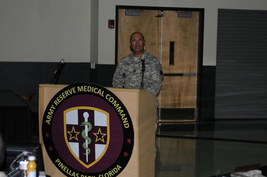 During the change of responsibility ceremony the morning of Sept. 24, 2015, here at the Army Reserve Medical Command Headquarters, Command Sgt. Maj. Juan M. Loera Jr offers a brief, but distinct speech after accepting the responsibility of being the command sergeant major for the Medical Readiness and Training Command.