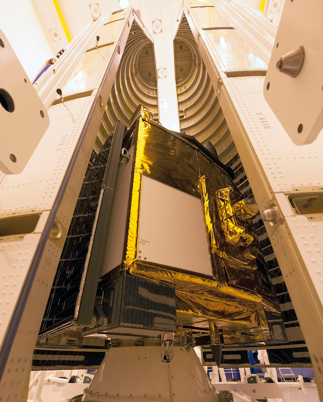 A close-up image of a Global Positioning System IIF-series satellite as it sits atop its payload adapter awaiting final encapsulation within a 4-meter diameter protective fairing Oct. 21 at Cape Canaveral Air Force Station, Fla. The Air Force and its mission partners are scheduled to launch the GPS IIF-11 aboard a United Launch Alliance Atlas V 401 launch vehicle Oct. 30 from Cape Canaveral AFS, Fla. The launch window is set to open at 12:17 p.m. EDT and will remain open for 18 minutes. (United Launch Alliance courtesy photo)
