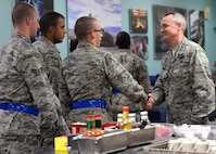 Lt. Gen. Darryl Roberson, commander, Air Education and Training Command, speaks to Airmen currently in Airman's Week at the 326th Training Squadron, Oct. 22, 2015, at Joint Base San Antonio-Lackland, Texas. During his visit to JBSA-Lackland, the commander held an all call where he discussed his priorities and expectations of the command and toured various 37th Training Wing facilities.