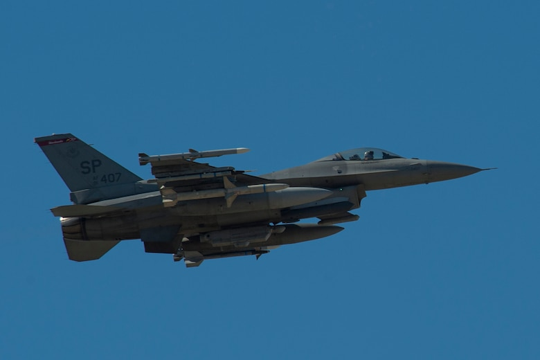 BEJA AIR BASE, Portugal – An F-16 Fighting Falcon fighter aircraft, assigned to the 480th Fighter Squadron at Spangdahlem Air Base, Germany, soars through the sky during a training mission for Trident Juncture 2015 at Beja Air Base, Portugal, Oct. 22, 2015. Trident Juncture 2015 is a multiservice, multinational exercise designed to demonstrate NATO's resolve, capability and capacity to meet present and future security challenges. (U.S. Air Force photo by Airman 1st Class Luke Kitterman/Released)