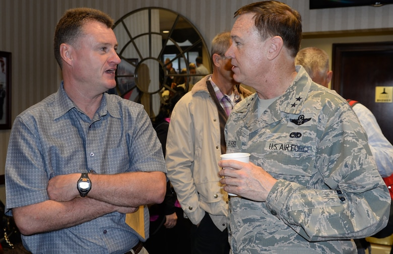 Air Force District of Washington Commander Maj. Gen. Darryl Burke meets with Air Commodore Richard Powell, British Air Attaché, before he departs Joint Base Andrews Oct. 25, 2015.  Air Attachés from several countries are currently touring Air Force installations across the United States to gain familiarity with the Air Force mission and to help build and sustain relationships between the U.S. and their respective countries.