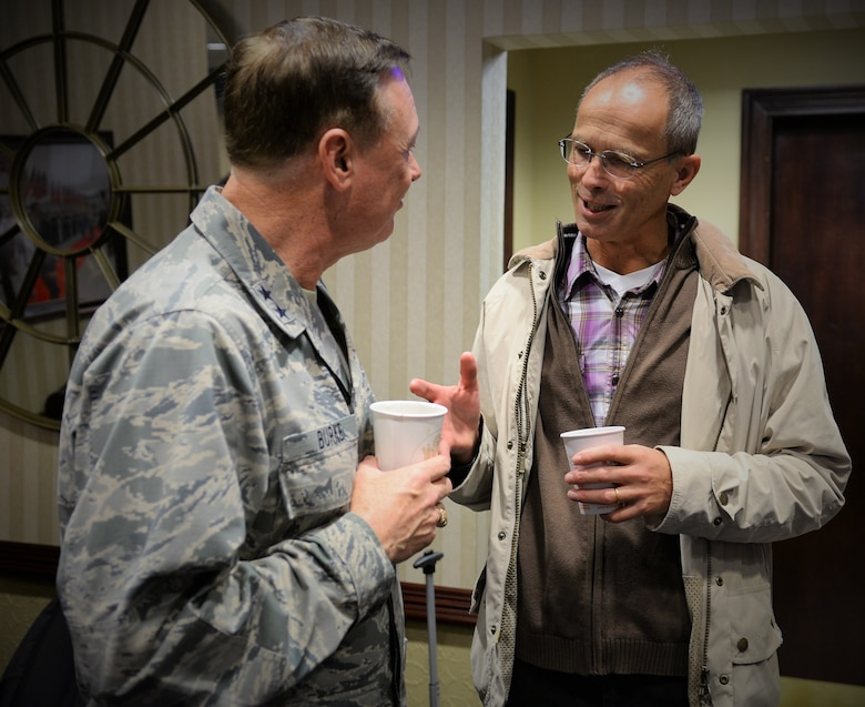 Air Force District of Washington Commander Maj. Gen. Darryl Burke meets with Colonel Bernhard Altersberger, German Air Attaché, before he departs Joint Base Andrews Oct. 25, 2015. Air Attachés from several countries are currently touring Air Force installations across the United States to gain familiarity with the Air Force mission and to help build and sustain relationships between the U.S. and their respective countries.
