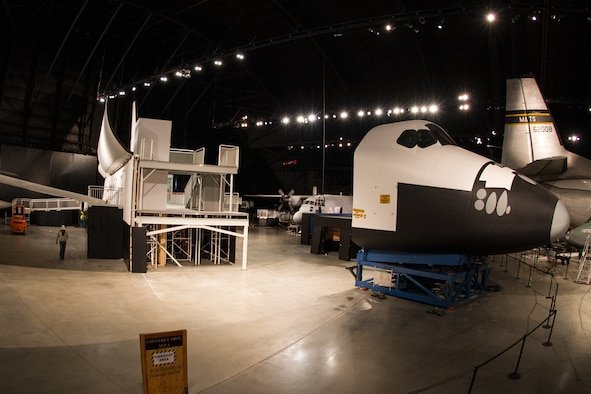 DAYTON, Ohio -- Restoration staff prepare to move the Space Shuttle Exhibit(CCT) into the new fourth building at the National Museum of the U.S. Air Force on Oct. 22, 2015. (U.S. Air Force photo)