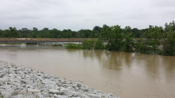 This photo shows the water at high elevation during the summer 2015 flooding event at Markle, Indiana.
