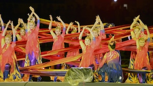 Dancers showcase the culture of Wuhan in central China's Hubei province, where the next CISM World Games will be held in 2019. The dance was part of closing ceremonies for the 6th CISM World Games in MunGyeong, South Korea, Oct. 11, 2015.