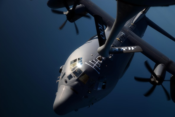 A U.S. Air Force C-130 Hercules from RAF Mildenhall, England, receives fuel from a KC-135 Stratotanker from RAF Mildenhall, England, Oct. 22, 2015, over the Atlantic Ocean. The two aircraft were training in exercise Trident Juncture, an exercise designed to help militaries respond more effectively to regional crises with NATO allies and partners – improving security of borders, ensuring energy security and countering threats of terrorism. (U.S. Air Force photo by Senior Airman Christine Halan/Released)