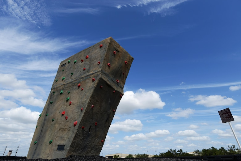 The climbing boulder stands on Laughlin Air Force Base, Texas, Oct. 20, 2015. The climbing boulder is less than two months old, free to use, and climbing shoes can be rented from Outdoor Recreation for $2 a day. (U.S. Air Force photo by Airman 1st Class Brandon May)(Released)