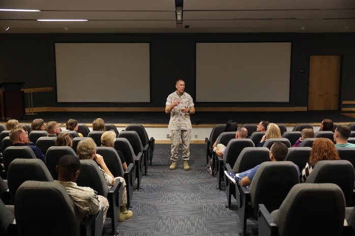 Lieutenant Cmdr. David Duprey, the Marine Raider Support Group chaplain, led the suicide awareness training at Marine Corps Forces, Special Operations Command at Stone Bay aboard Marine Corps Base Camp Lejeune, N.C., Oct. 22, 2015.