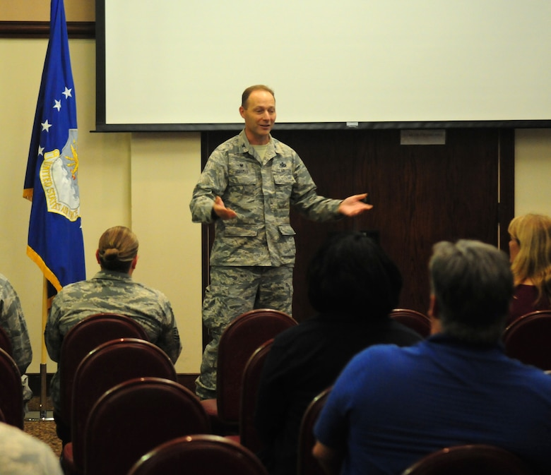 Col. Stephen Hoffman, the 9th Mission Support Group commander, addresses the audience  at a National Disability Employment Awareness Month event Oct. 28, 2015, at Beale Air Force Base, California. The event marks the 70th year of NDEAM and the 25th anniversary of the Americans with Disabilities Act. (U.S. Air Force photo by Staff Sgt. Zachary L. Vucic)