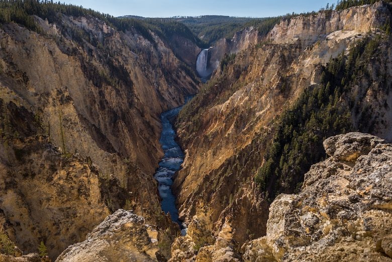 The Yellowstone River flows through the jagged rocks of the Grand Canyon of Yellowstone at Yellowstone National Park, Wyoming Oct. 10, 2015. The canyon spans approximately 24 miles and features two waterfalls. (U.S. Air Force photo by Airman 1st Class Connor J. Marth)