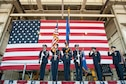 Dyess Honor Guard presents the colors at the 7th Bomb Wing change of command ceremony Oct. 29, 2015, at Dyess Air Force Base, Texas. During the ceremony, Col. David Benson assumed command of the 7th Bomb Wing. (U.S. Air Force photo by Airman Quay Drawdy/ Released)