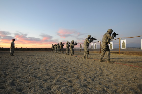 U.S. Airmen with the 129th Security Forces Squadron, California Air National Guard perform weapons training, Beale Air Force Base, Calif., Oct. 10, 2015. The training is in preparation for a future deployment.  (U.S. Air National Guard photo by Kim E. Ramirez/Released)