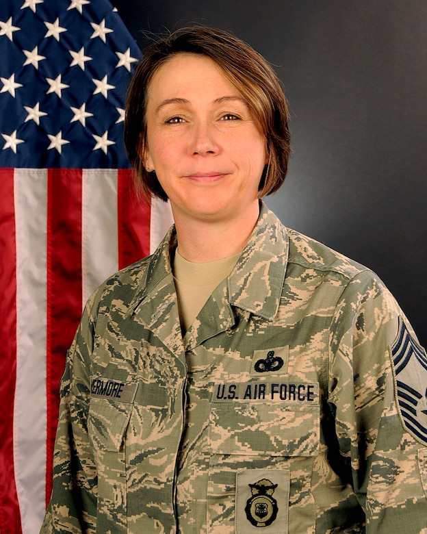 U.S. Air Force Chief Master Sgt. Kristy Livermore with the 169th Security Forces Squadron, South Carolina Air National Guard, Feb. 27, 2015.  (U.S. Air National Guard photo by Tech. Sgt. Caycee Watson/Released)