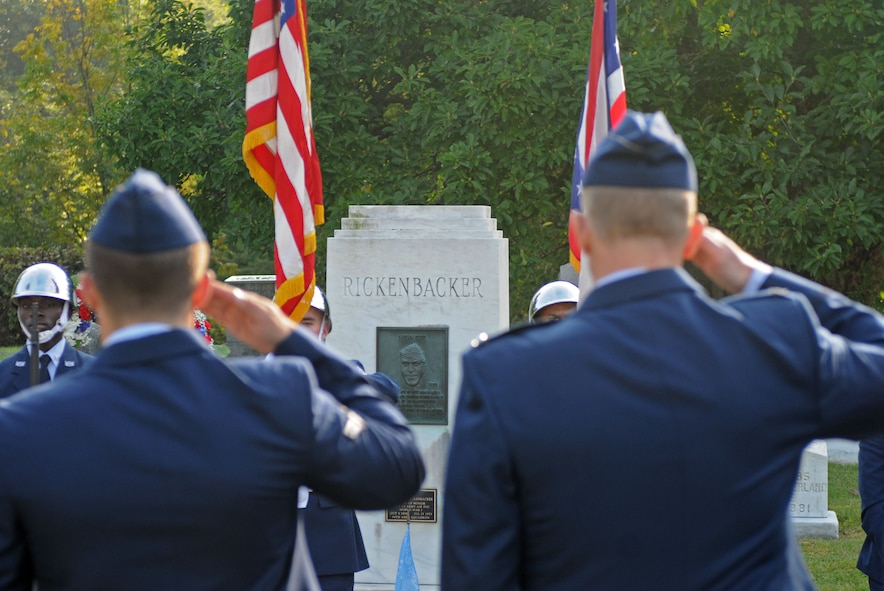 "U.S. Airmen with the 121st Air Refueling Wing, along with members of the Columbus Downtown High School Jr. ROTC and the Rickenbacker-Woods Foundation, join together to celebrate the 125th birthday of Capt. Eddie Rickenbacker Oct. 8, 2015 at Green Lawn Cemetery, Columbus, Ohio. October 8 has officially been named by The Franklin County Board of Commissioners as ""Captain Eddie Rickenbacker Day"" for the City of Columbus. (U.S. Air National Guard photo by Airman 1st Class Ashley Williams/Released)"