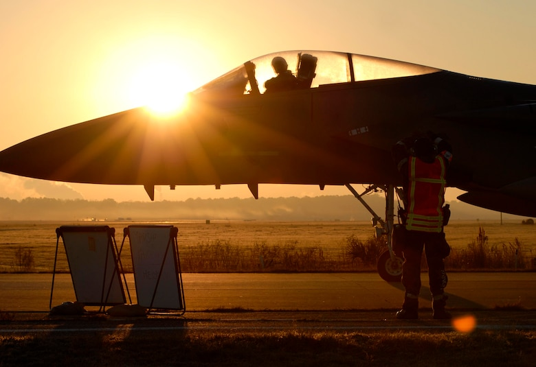 An F-15 from the 125th Fighter Wing prepares to launch from the Jacksonville International Airport.