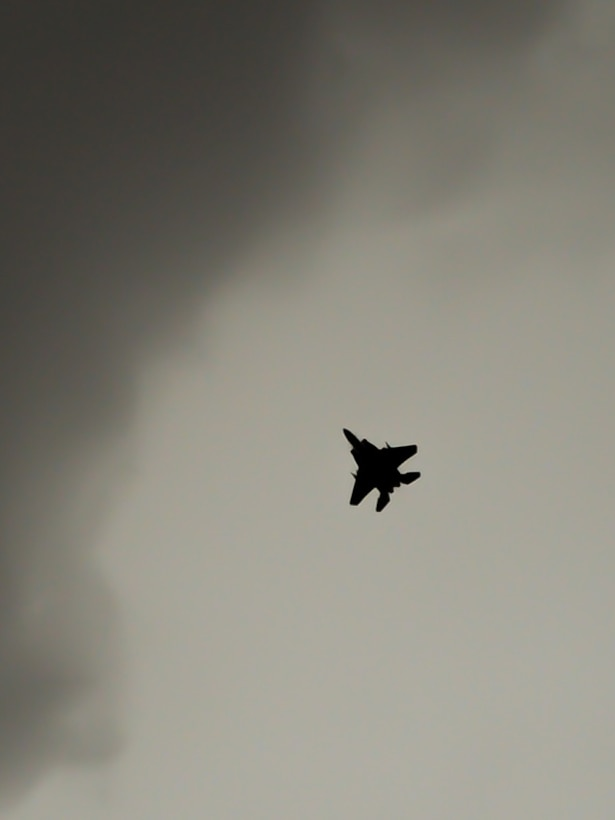 An F-15C Eagle from the 493rd Fighter Squadron, Royal Air Force Lakenheath, England, completes a training mission during the Blue Flag exercise at Uvda Air Force Base, Israel, Oct. 18-29, 2015. Blue Flag is the Israeli air force's largest multinational aerial exercise and involved 11 fighter squadrons representing the Israeli, Hellenic, Polish and U.S. air forces. (U.S. Air Force photo by 2nd Lieutenant Kellie Rizer/Released)