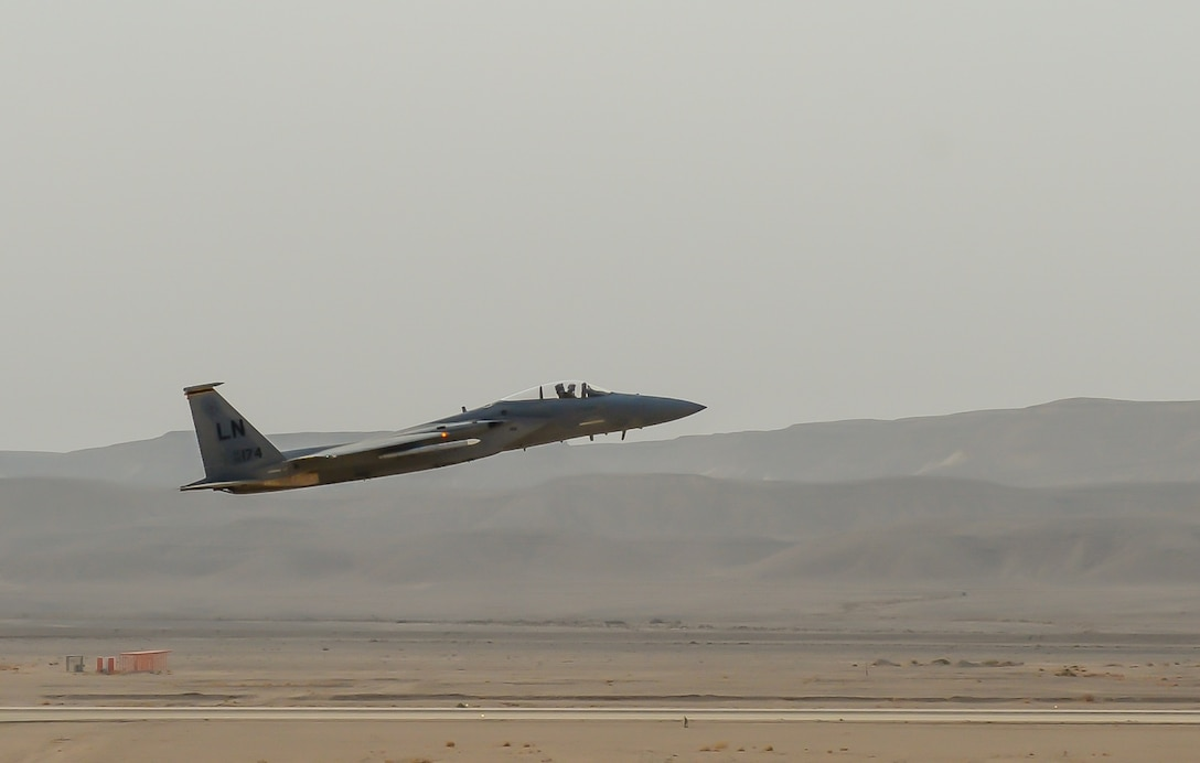 An F-15C Eagle from the 493rd Fighter Squadron, Royal Air Force Lakenheath, England, takes off to complete a training mission during the Blue Flag exercise at Uvda Air Force Base, Israel, Oct. 18-29, 2015. Blue Flag is the Israeli air force's largest multinational aerial exercise and involved 11 fighter squadrons representing the Israeli, Hellenic, Polish and U.S. air forces. (U.S. Air Force photo by 2nd Lieutenant Kellie Rizer/Released)