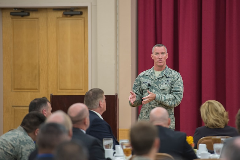 Maj. Gen. Ed Wilson, 24th Air Force commander speaks to attendees of the 2015 AF Cyberspace Live, Virtual and Constructive (LVC) Workshop on Joint Base San Antonio - Lackland, Texas, October 20. The three-day LVC workshop is co-chaired by 24 AF and the Air Force Agency for Modeling and Simulation (AFAMS). The theme of the workshop is Training the Cyber Mission Force. As the leader in realistic Cyber training, the AF seeks to integrate air, space, and cyberspace training through its full-spectrum LVC capabilities. (U.S. Air Force photo by Master Sgt. Luke P. Thelen/Released)