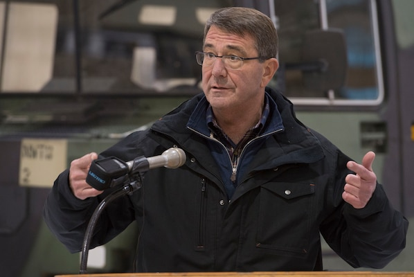 Defense Secretary Ash Carter speaks with reporters during a visit to Fort Wainwright, Alaska, Oct. 30, 2015. Carter is visiting the Asia-Pacific region, where he will meet with leaders from more than a dozen nations to help advance the next phase of the U.S. military's rebalance in the region by modernizing longtime alliances and building new partnerships. Photo by Air Force Senior Master Sgt. Adrian Cadiz