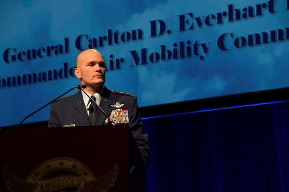 Gen. Carlton D. Everhart, Air Mobility Command commander, gives the closing address during the 47th Annual Airlift Tanker Association Convention and Technology Exposition and A/TA and AMC Symposium in Orlando, Fla., Oct. 31, 2015. The symposium served as a key professional development forum for Mobility Air Forces Airmen by enabling direct access to senior mobility leaders and fostering an environment encouraging open dialogue and honest discussions. (U.S. Air Force photo by Staff Sgt. Shandresha Mitchell/Released)