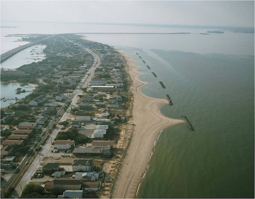 Aerial view of Willoughby Bay Spit and East Ocean View areas, Norfolk, Virginia.