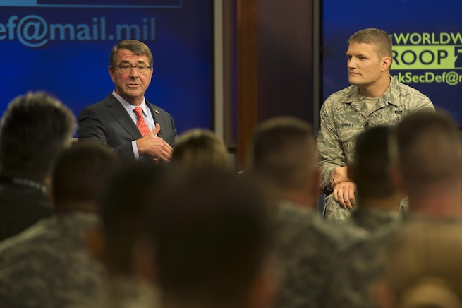 Defense Secretary Ash Carter hosts a Worldwide Troop Talk, the first of its kind, at Defense Media Activity on Fort George G. Meade, Md., Sept. 1, 2015. Carter answered questions from service members around the world. DoD photo by U.S. Air Force Master Sgt. Adrian Cadiz