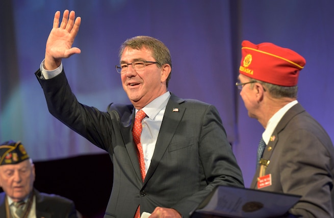 Defense Secretary Ash Carter waves to attendees of the American Legion Convention while delivering remarks in Baltimore, Sept. 1, 2015. DoD Photo by Glenn Fawcett