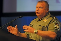 """Maj. Scott Wayne, an officer with the Pentagon Force Protection Agency, speaks at an """"Active Shooter"""" seminar at the Pentagon Aug. 20."""