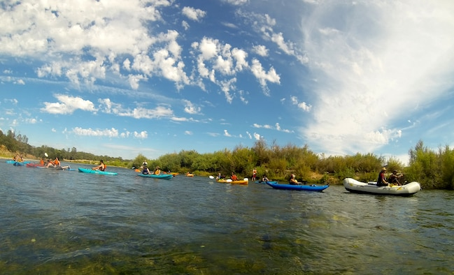 Airmen from the 13th Intelligence Squadron at Beale Air Force Base, California kayak down the Yuba River for a Comprehensive Airmen Fitness day, Aug. 26, 2015.  The Outdoor Adventure Center supported the event by providing equipment and transportation.(U.S. Air Force photo by Airman 1st Class Jessica B. Nelson)
