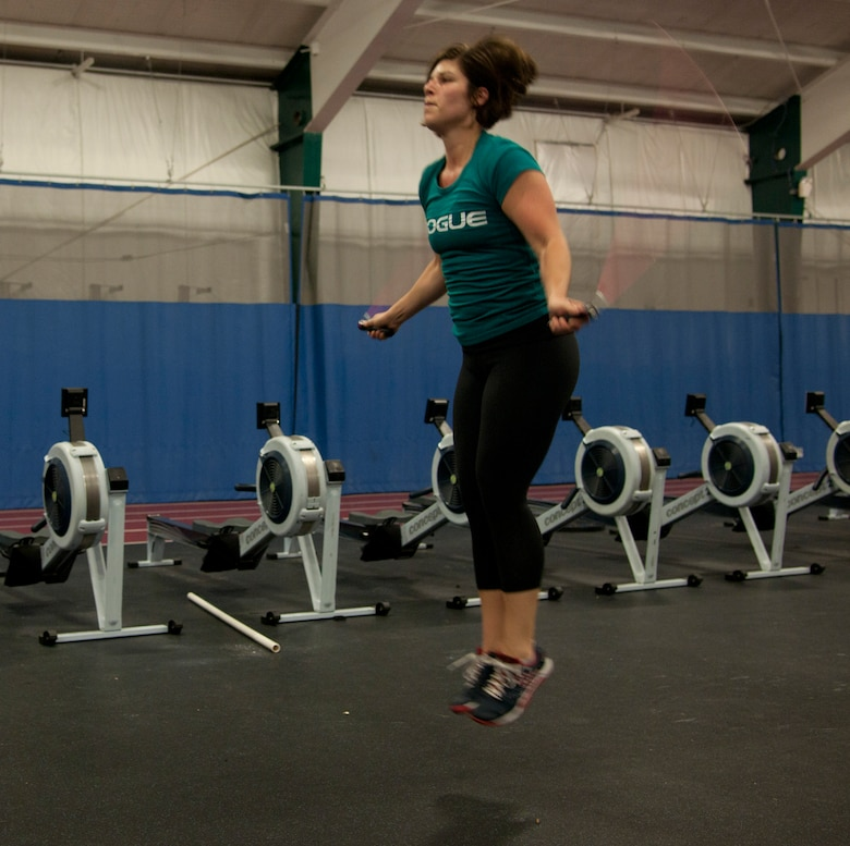 Kait Miller, dependent, jumps rope at the Joint Base Andrews West Fitness Center, Aug. 31, 2015. The West Fitness Center is being renovated with new equipment and energy-saving updates. (U.S. Air Force Photo/Airman 1st Class J.D. Maidens/released)