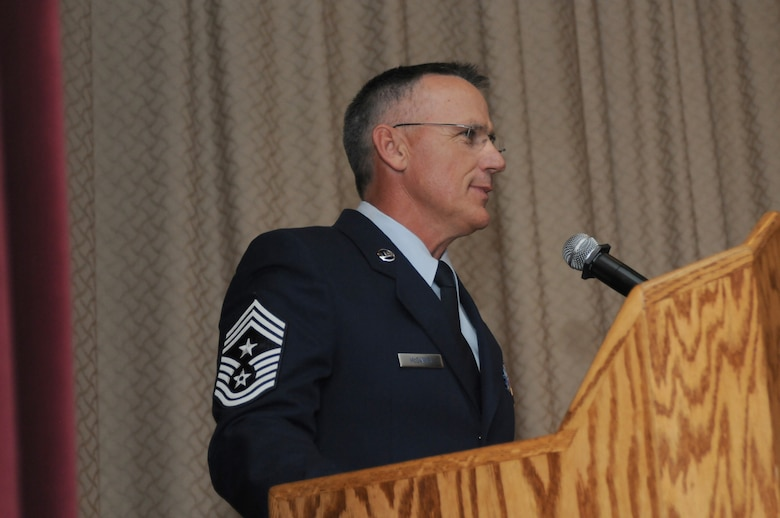 U.S. Air Force Chief Master Sgt. Mark McDaniel, 173rd Fighter Wing Command Chief, speaks to the crowd during a change of authority ceremony at Kingsley Field, Ore. Aug. 2, 2015.  McDaniel takes over as the top enlisted advisor for the 173rd FW from Chief Master Sgt. Danny Ross who served as the command chief since 2012.  (U.S. Air Force photo by Tech. Sgt. Jefferson Thompson/Released)