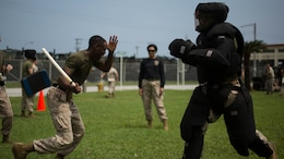 Sgt. Dashien R. Pettigrew runs through the OC Spray Performance Evaluation Course on Camp Hansen, Okinawa, Japan, during the Non-Lethal Weapons Instructor Course, Aug. 27, 2015. This inter-service course is only offered once a year on Okinawa. Pettigrew, from Moncks Corner, South Carolina, is an ammunition technician with 3rd Law Enforcement Battalion, III Marine Expeditionary Force Headquarters Group, III MEF, and will have the collateral duty of non-lethal weapons instructor upon completion of the course.