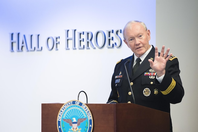 Army Gen. Martin E. Dempsey, chairman of the Joint Chiefs of Staff, speaks during the 16th Annual Newman's Own Awards in the Hall of Heroes at the Pentagon, Sept. 2, 2015. During the ceremony, six military nonprofit organizations received $200,000 for their innovative programs to improve military quality of life. Newman's Own, Fisher House Foundation and Military Times sponsored the awards. DoD photo by U.S. Army Staff Sgt. Sean K. Harp