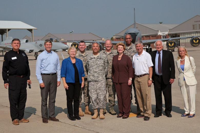 U.S. Rep. Dan Benishek, R-Mich., U.S. Rep. Bill Huizenga, R-Mich., U.S. Rep. Candice Miller, R-Mich., Major Gen. Gregory J. Vadnais, U.S. Sen. Debbie Stabenow, D-Mich., U.S. Rep. Fred Upton, R-Mich., U.S. Rep. Sander Levin, D-Mich., and U.S. Rep. Debbie Dingell, D-Mich., stand in front of an A-10 Thunderbolt II and KC-135 Stratotanker aircraft at Selfridge Air National Guard Base, Mich., Sept. 2, 2015. Vadnais is the adjutant general of the Michigan National Guard. Standing in the back row are Brig. Gen. Michael A. Stone, assistant adjutant general of Michigan for installations; Brig. Gen. John D. Slocum, 127th Wing commander; and Brig. Gen. Leonard W. Isabelle, commander of the Michigan Air National Guard. Both aircraft are operated by the 127th Wing at Selfridge. The Congressional members toured the base to learn about the capabilities and missions of the 40-plus units assigned to Selfridge. (U.S. Air National Guard photo by Terry Atwell / Released)