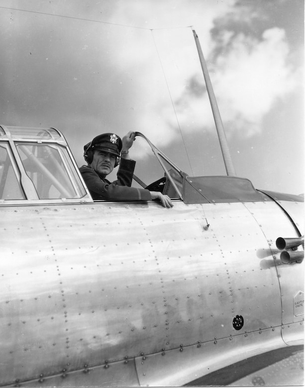 Major G. Robert Dodson, Commander of Oregon's first aviation unit, the 123rd Observation Squadron, pictured in 1941 with the squadron's first aircraft, a North American BC-1A.  He commanded the Oregon Air National Guard after the war and on into the late 1950's.  (142FW Archives)