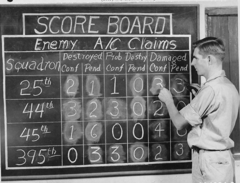 Some aerial victories against Japanese fighters are mission results for the B-29 crews of 1st Lt. Bill Stevenson's 40th Bomb Group as shown here.  Stevenson was a charter member of Oregon's 123rd Observation Squadron.  Sgt. Robert N. Archer of Medford, Oregon, was in charge of the scoreboard at their base in India showing Japanese planes destroyed, probably destroyed or damaged by squadrons of the 40th Bomb Group.  This chart and various wall panels on the War Room at this 20th Bomber Command base kept the men informed on the latest developments in all war theatres.  (NARA, via 40th Bomb Group Association)