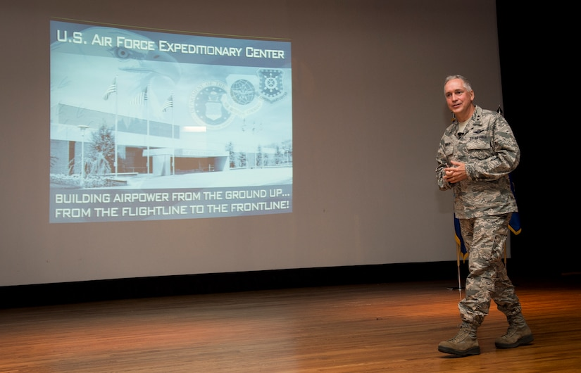 Maj. Gen. Frederick H. Martin, U.S. Air Force Expeditionary Center commander, Joint Base McGuire-Dix-Lakehurst, New Jersey, talks to Airmen and Sailors during an all call Sep. 1, 2015, at the base movie theater on Joint Base Charleston, S.C. The U.S. Air Force Expeditionary Center is the Air Force's Center of Excellence for advanced expeditionary combat support training and education, while also providing direct oversight for en route and installation support, contingency response, and partner capacity building mission sets within the global mobility enterprise. The Expeditionary Center provides operational control of the Expeditionary Operations School and administrative control for six wings and two groups within Air Mobility Command. (U.S. Air Force photo/Airman 1st Class Clayton Cupit)