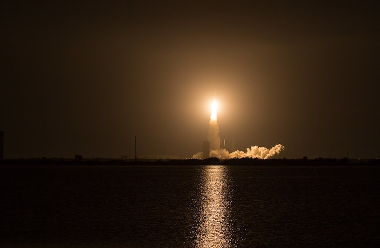 The U.S. Air Force's 45th Space Wing helped successfully launch the fourth Mobile User Objective System (MUOS) satellite aboard a United Launch Alliance Atlas V rocket from Launch Complex 40 here Sept. 2, 2015, from Cape Canaveral Air Force Station, Fla., at 6:18 a.m. EDT. The U.S. Navy-delivered MUOS is a next-generation narrowband tactical satellite communications system, built by Lockheed Martin, designed to significantly improve ground communications for U.S. forces on the move. (Photo by Dawn Haworth/Spaceflight Insider)
