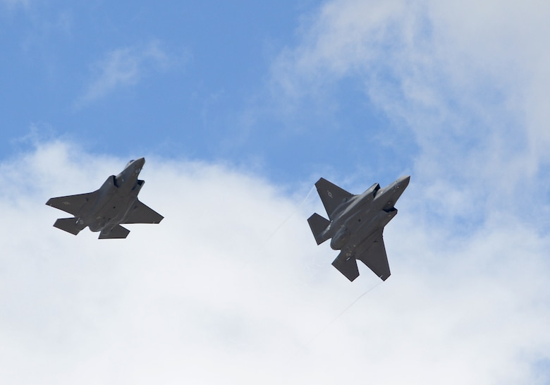The first two operational F-35A Lightning II aircraft arrive at Hill Air Force Base, Utah, Sept. 2, 2015. The jets were piloted by Col. David Lyons, 388th Fighter Wing commander, and Lt. Col. Yosef Morris, 34th Fighter Squadron director of operations. Hill will receive up to 70 additional combat-coded F-35s on a staggered basis through 2019.  The jets will be flown and maintained by Hill Airmen assigned to the active-duty 388th Fighter Wing and its Reserve component 419th Fighter Wing. (U.S. Air Force photo by Alex R. Lloyd/Released)